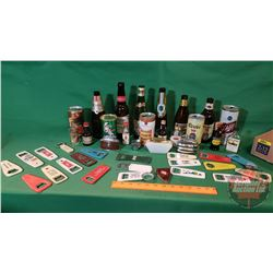 Tray Lot - Bar Collector Combo: Variety Bottles/Cans, Lighters, Openers, etc
