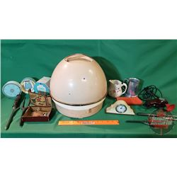 Tray Lot - Vintage Ladies Collector Combo : Curling Irons, Dresser Clock, Change Purse, Small Pitche