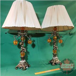 "Side Table Lamps (Pair) Cherub Motif (Base to Bulb 20""H)"