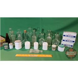 Tray Lot: Variety of Vintage Apothecary/Confection Bottles, 3 Boxes Flat Toothpicks, Milk Glass Jars