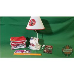 Coca-Cola Table Lamp (Polar Bear in Cooler) & Small Cooler Pack with Coca Cola Pens