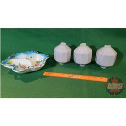 Lighting Rod Globes (3 Milk Glass) + Ruffled Dish
