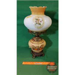"""Vintage Electric """"Gone With The Wind"""" Globe and Hurricane Fruit/Harvest Pattern Lamp"""
