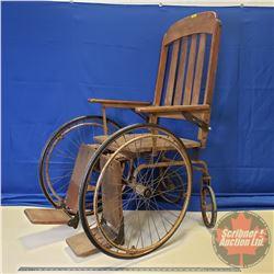 """Antique Wheel Chair (Makers badge: """"Manufactured by THE COLSON CORP. Elyria, Ohio, USA"""" Model No. 44"""