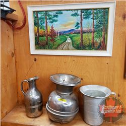 Pitchers(2) & Spittoon & Framed Sheep/Farm Picture
