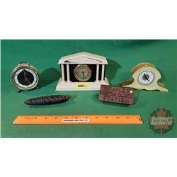 3 Dresser Clocks, Acorn Weight & Simplex Watch Clock Station (Cast Case with Chain & Key) Night watc