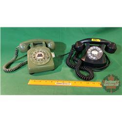 Rotary Desk Phones (2) Black & Green