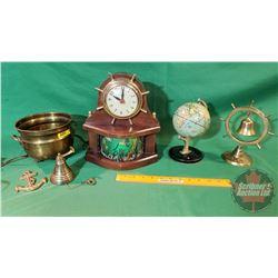 Brass, Travel & Nautical Collector Combo: Clock, Brass Bell, Desk Globe, etc!
