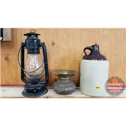 Collector Trio: Shoulder Crock Jug, Beacon Barn Lantern & Spittoon