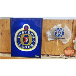 """Lighted Beer Signs (2): Foster's Lager Light Sign (20-1/2"""" x 16-1/2"""" x 5""""D) & Australia Shape (15"""" x"""