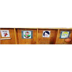 """Variety Oil & Gas Decals on Tin (Fire Chief, Sky Chief, North Star, Husky) (Largest Tin measures 20"""""""