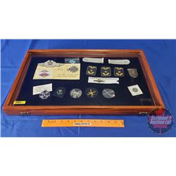 Display Case with: Collection of Nazi / German Militaria Items (Coin, Badges, Medal, etc) (Possible