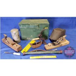 """Wood Tool Box w/Contents: Wood Plane, Welding Mask, Thermometer, etc (Wood Box Measures: 18""""W x 10""""D"""