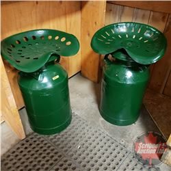 """Pair of Cream Can Stools (Painted Green) (27""""H)"""