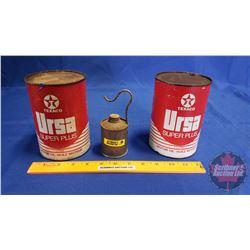 Texaco Ursa (2 Cardboard Side Tins) & Small Oiler
