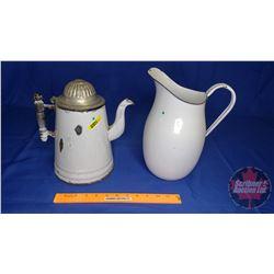 Enamel Pair: Coffee Pot & Water Pitcher