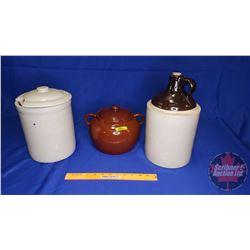 Crock Trio: Shoulder Jug, Bean Pot  & Crock with Lid (Lid damaged)