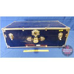 "Blue Tin Suitcase/Foot Locker (30"" x 17"" x 11"")"