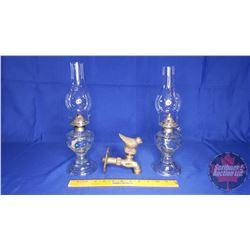 """Collector Trio: 2 Small Coal Oil Lamps """"Bird"""" Motif & Brass """"Bird"""" Tap"""