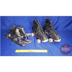 CCM Cyco Speeder Skates (Size 10) & Roller Skates - Wooden Wheels (Size 7) (Chicago Roller Skate Co.