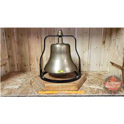 "Locomotive Brass Bell on Custom Wood Base (Black Frame : 13-1/2""H) (Total Height 18"")"