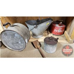 Coal Skuttle, Gas Cans & Galvanized Drum Can
