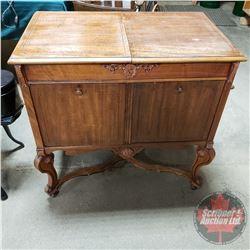 """Concert"" Cabinet Gramophone with Record Storage (34""H x 21""D x 35""W) (Tone Arm needs repair)"
