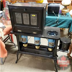 "New Perfection Kerosene Stove (30""H x 41""W x 17""D) & Oven Top (18""H x 21'W x 13""D)"