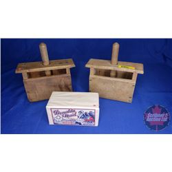 Wooden Butter Presses (2) + Display Butter Clock in Donalda Maid Wrapper