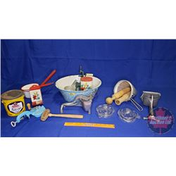 Light Blue/White Enamel Basin with Contents: Sifter, Juicer, Match Stick Box Holder, Bean Slicer, La
