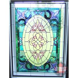 "Stained Glass Framed Décor Window (Note: Beveled Glass throughout) (37"" x 27"")"