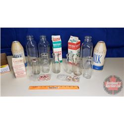 Tray Lot: Vintage Milk Containers (Bottles, Cartons) (14pcs)