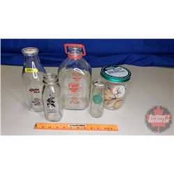 4 Milk Bottles & Variety of Pogs in Kraft Jar