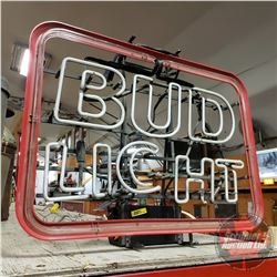 "Bud Light Neon Sign (Note: ""g"" is damaged - not working) (21""H x 27""W)"