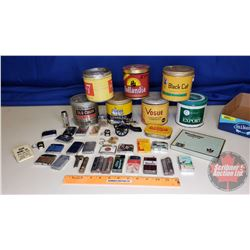 Tray Lot - Tobacco Tins, Lighters, Cig Tin, etc