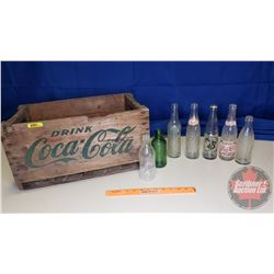 Coca-Cola Wooden Crate with Variety of 7 Bottles (Crate is 8/63)