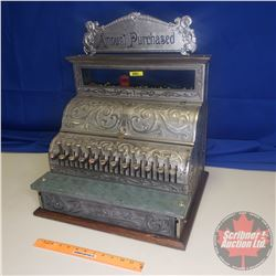 """Premiere Nickel Plated Cash Register - Works! With Key! (19""""W x 23""""H to the top of """"Amount Purchased"""
