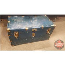 "Blue Tin/Metal Steamer Trunk (19""H x 36""W x 18""D)"