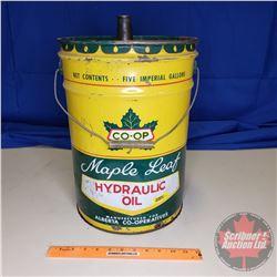 "Co-Op Maple Leaf Hydraulic Five Gallon Oil Pail (16""H)"