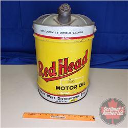 "Red Head Five Gallon Oil Pail with Spout (16""H)"
