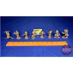 """Brass Figurines (8) (5 Smurfs, 2 Clowns & 1 Pig) (Approx 2"""" Tall)"""