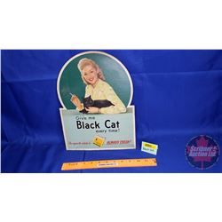 "Cardboard Counter Top Ad ""Black Cat"" (13-1/2"" x 10"")"