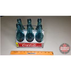 Coca-Cola 6 Pack Aluminum Carrier WITH 6 Blue Coca-Cola Bottles!! WOW!!!