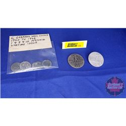 6 Germany Nazi Coins 1940 to 1942 - Wartime Issue & 2 Nazi Pins