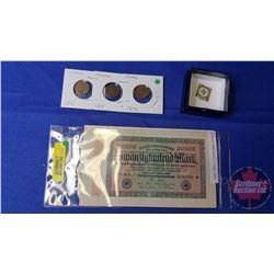 German Coin & Currency : 20000 Reichsbanknote 1923; 1 Reichspfennig 1930; 1 Reichspfennig 1931; 1 Re