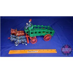 """Cast Iron Horse Drawn Wagon with Driver (14""""L x)"""