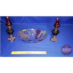 """Hand Painted Fruit Bowl & 2 Cranberry Glass Oil Lamps (10""""H)"""