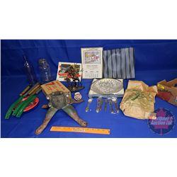 Tray Lot: Vintage Xmas Tree Holder, Purple Bottle, Jar, Lantern Pumps, Xmas Lights, 1955 Calendar, e