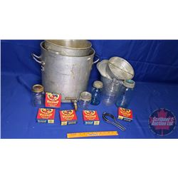 Large Pot, Separator Insert & Tray Lot: Vintage Canning Jars/Items, etc !