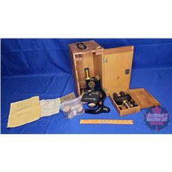 Bausch & Lomb Optical Co. Microscope with Wood Carry Case & Binocular Eyepiece in Case (Note: Origin